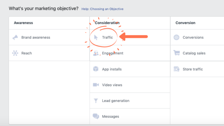 Facebook Ads Manager Marketing Objectives